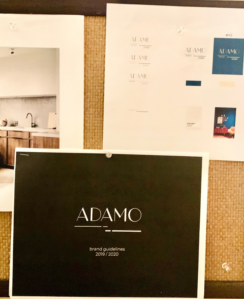 MY PIN-UP BOARD WITH THE GUIDELINES TO ADAMO SCENT AND SKINCARE LINE